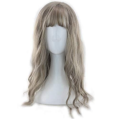 Ylf367z bouclés perruques linge Greenwood vague gris cheveux bouclés Lady longs bouclés chignons air cheveux maïs cheveux longs chaud doux Sœur Harajuku perruque