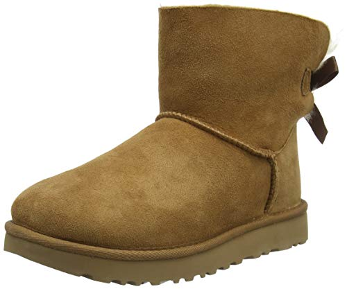 UGG Female Mini Bailey Bow II Classic Boot, Chestnut, 39 EU