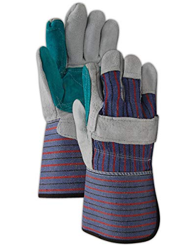 MAGID TG255IEDP Top Gunn Double-Palm Split Leather Glove with Gauntlet Cuff and Inside Elastic, Mens, Blue (12 Pair)