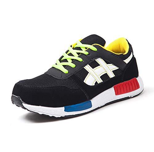 YMGW Suave y cómodo Transpirable Zapatos de Trabajo con Punta de Acero Ultra Liviano Protección Hombre Mujer Zapatillas de Seguridad,Negro,37EU