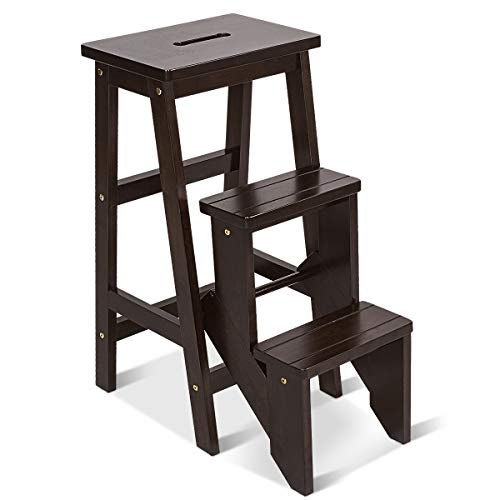 Giantex 3 Tier Folding Step Ladder, Multifunction 3-in-1 Wood Step Stool, 353 lbs Capacity Display Ladder and Storage Shelf for Library, Home Kitchen, Household Work (Brown, 30''H)