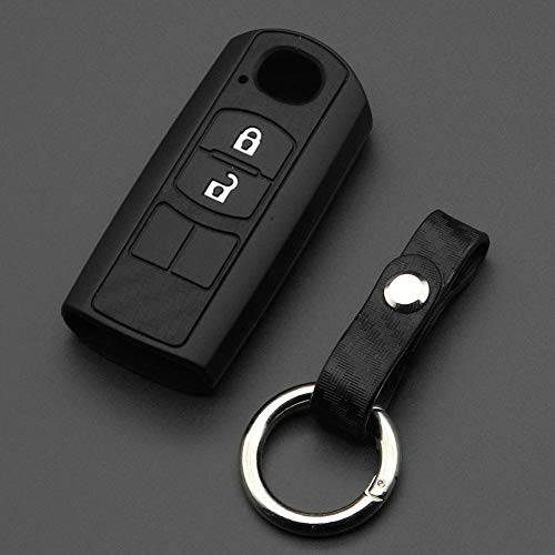 TMAAORS Carcasa de silicona de carbono para llave de coche,2/3 botones, carcasa para llave, para Mazda 2 3 5 6 8 Atenza CX5 CX-7 CX-9 MX-5 RX
