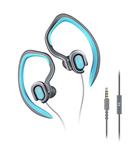MUCRO Running Headphones Wired,Sweatproof in Ear Phones with Mic HD Stereo Noise Isolating Earhook Earbuds for Gym Sports Workout(blue)