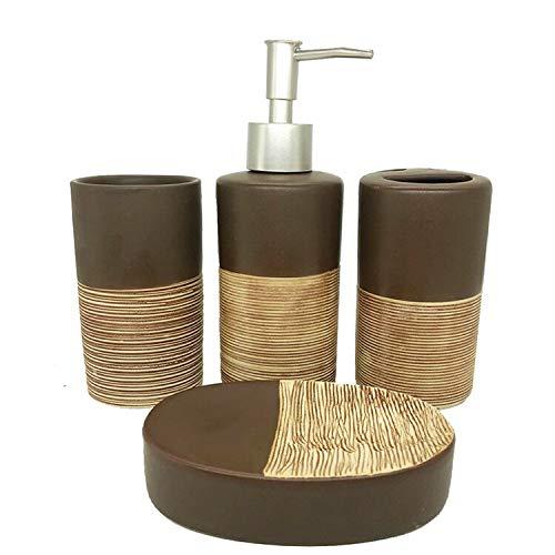 ZHQHYQHHX Accessori da bagno in ceramica di alta qualità Set di sapone dispenser di sapone forniture da bagno Set regalo di nozze Accessori da bagno set (Colore: Marrone, Dimensioni: Gratis)