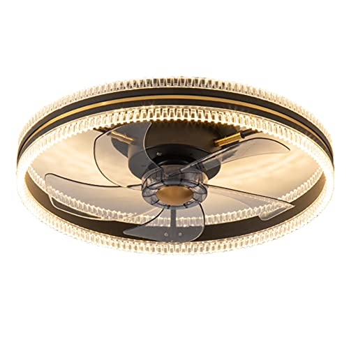 wanhe Lámpara De Techo LED Moderna, Kit De Luz De Ventilador Techo Montaje Empotrado 19.7'Aspa De Ventilador Acrílico Oculta Redonda con Luz Ventilador Techo Cristal Remota,Negro