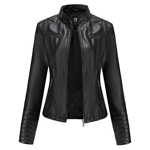 Damen Kunstleder Jacke Leather Jackets Motorradjacke Bikerjacke PU Lederjacke Outwear Kurz Damenjacke Kurze Jacke für Herbst, Frühling(5 Farben),Black,S