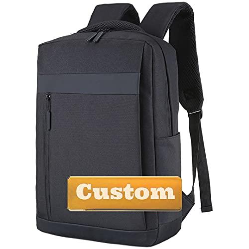 Nombre Personalizado Negocio con Carga USB Mochila Acolchada Compartimiento portátil Bolso Universitario 17 Pulgadas (Color : Black, Size : One Size)