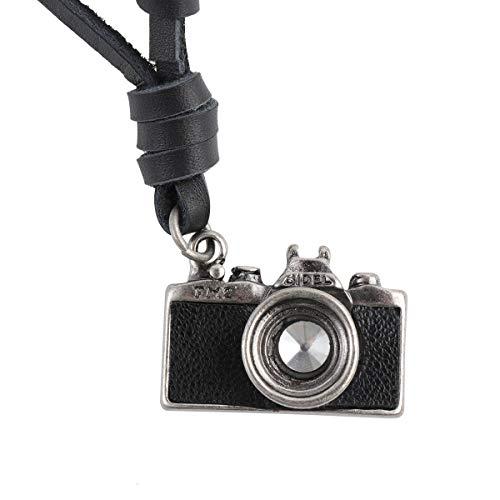 Tinksky. Colgante ajustable con forma de cámara de fotos retro y collar de cuero. Negro. Para regalo de cumpleaños/ Navidad/ para hombres y mujeres