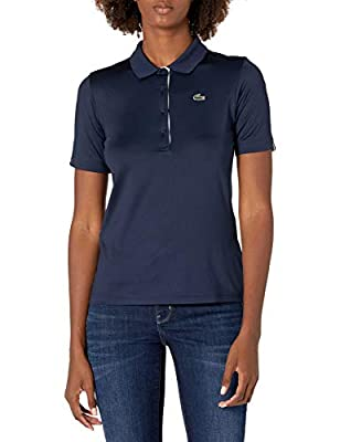 Lacoste Women's Sport Super Dry Golf Polo Shirt, Navy Blue/White, 12