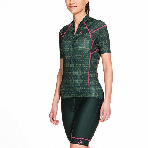 Gregster Maglia da Ciclismo Donna a Manica Corta, Primaverile o Estiva, Scollo con Zip e Tasca Posteriore, Verde Scuro