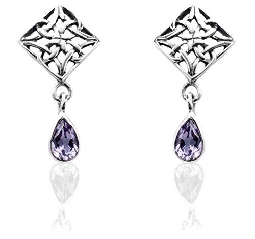 DTPSilver -Damen Schmetterlingsrücken Ohrringe 925 Sterling Silber - Keltische Dreifaltigkeitsknoten - keltischen Kollektion - Amethyst