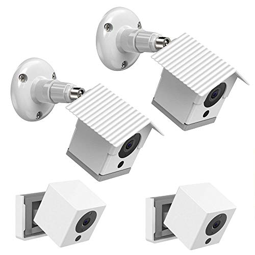 HOLACA Weatherproof Outdoor Wall Mount Bracket + Quick Indoor Mount for Wyze Cam 1080p HD Camera, Weather Proof 360 Degree Protective Adjustable Mounting Bracket Kit(White 2 Pack)