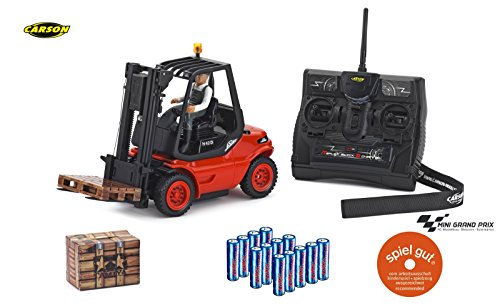 CARSON 500907093 - 1:14 Gabelstapler Linde 2.4G 100% RTR, Ferngesteuertes Fahrzeug, Nutzfahrzeug, Maßstab 1:14, Licht und Soundfunktionen, inkl. Senderbatterien, 2,4 GHz Fernsteuerung