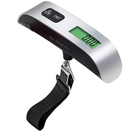 Konesky Escala Electrónica de Equipaje, 110 lb / 50 kg Digital Portátil Escala de Maleta Colgante de Viaje con Gancho Correas Fuertes Pantalla Retroiluminada