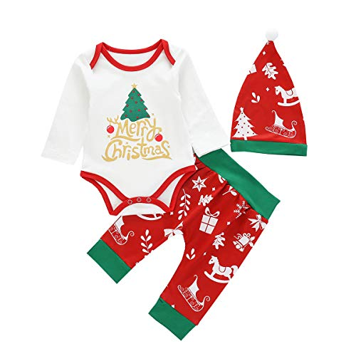Newborn Baby Boys Girls Merry Christmas Tree Costume Ruffle Long Sleeve Romper Bodysuit Striped Pants Hat First 1st Christmas Outfit Clothes 3PCS Set White Tree 3-6 Months