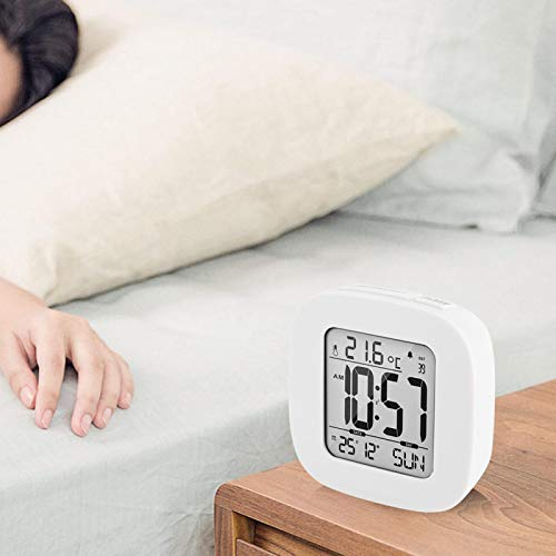 Mothinessto Reloj Despertador Digital Ligero y Conveniente para Viajes(White)