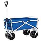 YSC Folding Beach Wagon – Collapsible Cart with Wheels – Utility Shopping Basket – Everyday Carrying Wagon – Large Outdoor Cart – Heavy-Duty Beach Utility Caddy (Royal Blue)