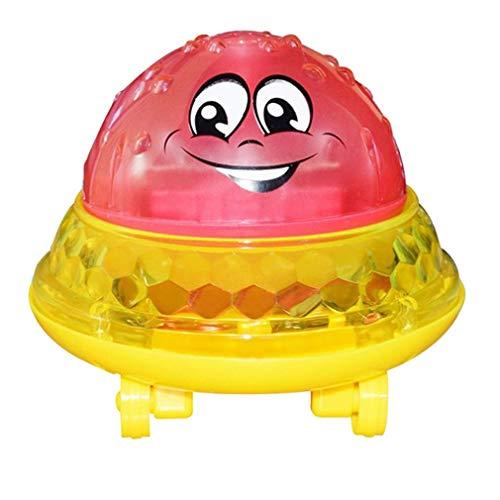 Yeliu Juguetes de baño Luz de Agua en Aerosol Girar con Ducha Piscina Juguetes para niños Niños pequeños Rojo con Base Universal
