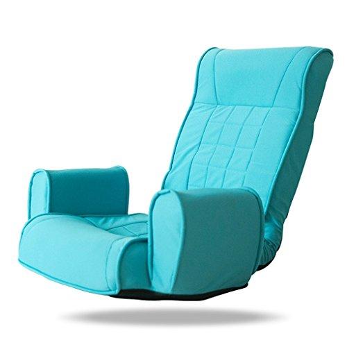 MeiMei Silla Japonesa Plegable Individual del sofá Silla Perezosa del sofá Silla del salón del balcón Silla del Ordenador (Color : Cyan)