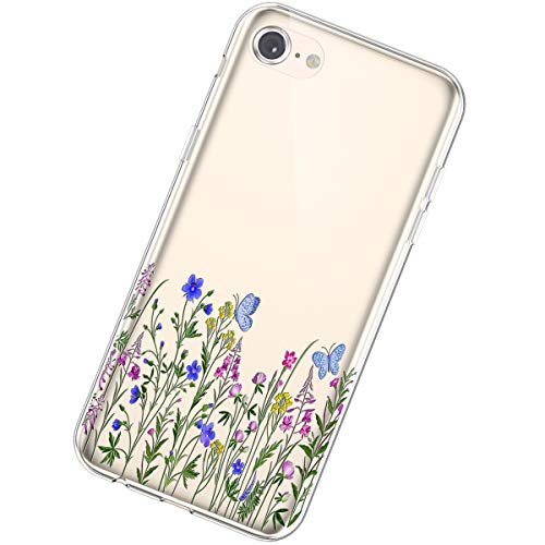 Urhause TPU hülle Kompatibel mit iPhone 7/8,Ultra Slim Silikon Hülle Gemalt Blumenmuster Flexible TPU Handyhülle Transparent TPU Silikon Schutzhülle Fallschutz Kratzfest hülle,#24