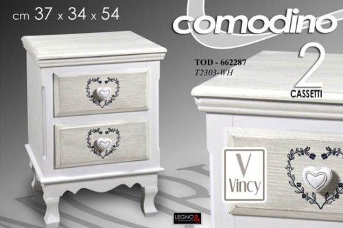 Gicos CASSETTIERA Comodino in Legno Bianco 2 CASSETTI Cuore 37X34X54 CM Art.662287