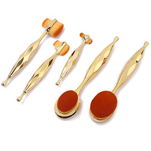 SUPVOX 5Pcs Brosse de Fondation Ovale Brosse à Dents Pinceaux de Maquillage Poudre Pinceau de Fondation (Or Rose)
