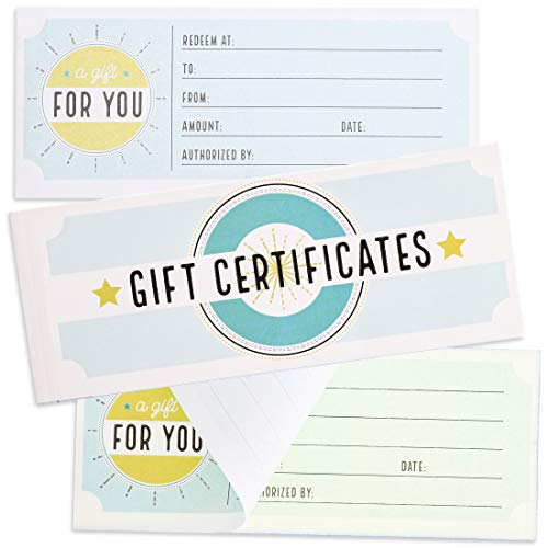 Juvale Blank Carbonless Gift Certificate Vouchers for Business, Birthday, 50 Sheets, 8.5 x 3.5 Inches 50 Off Gift Certificates