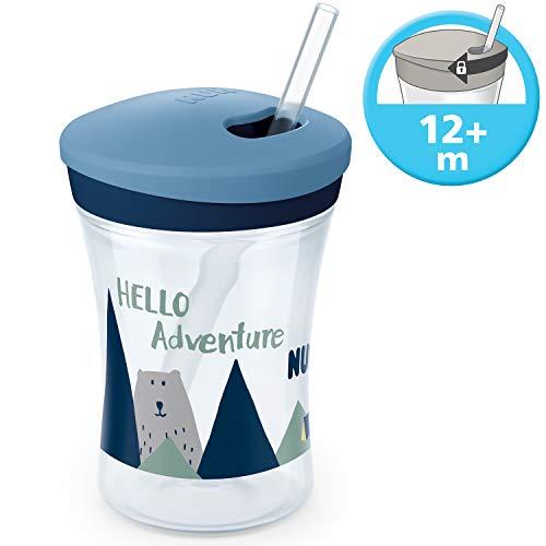 NUK 10255513 Hello Adventure Action Cup 230ml, zacht rietje, lekvrij, vanaf 12 maanden, BPA-vrij, Boy, blauw