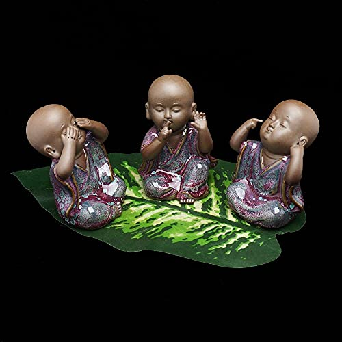 LSZA Escultura,Cerámica Calva Kung fu Monje Estatua de Buda Indio Yoga Figura decoración del hogar artesanías té Mascota Figuras en Miniatura