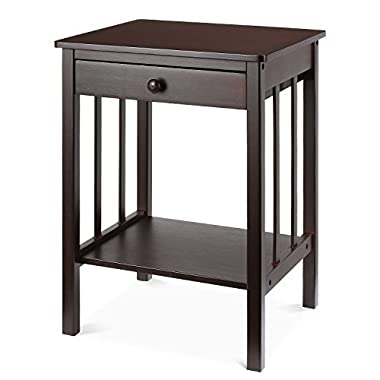 HOMFA Bamboo Night Stand with Drawer and Shelf Storage Multipurpose End Side Table Home Furniture, Retro Color