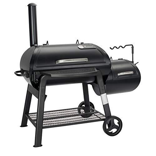 LANDMANN Smoker Vinson 500 | Klassischer 20 Zoll-Smoker mit 4-in-1 Funktionen | Abgerundetes Design für optimale Luftzirkulation | Massive emaillierte Stahlroste & mit Deckelthermometer [Schwarz]