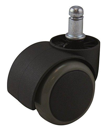 Waytex Roulette Univ sols durs pour Fauteuil Noir/Blanc, Plastique, 6x6x10 cm