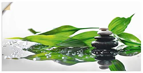 Artland Wandbild selbstklebend Vinylfolie 100x50 cm Wanddeko Wandtattoo Asien Zen Wellness Steine Spa Bambus Blätter S7LT