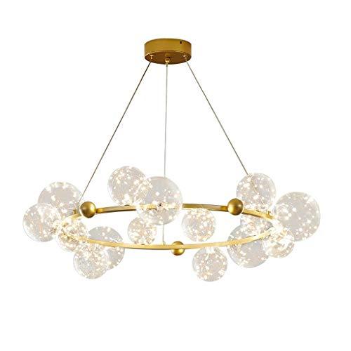 DKORP Últimos aranceles de diseño con Control Remoto Gold Iron Ball Ball Luces Colgantes Restaurante Sala de Estar, Lámpara de habitación (Color : B)
