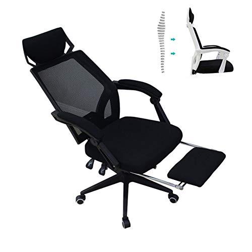 Huining Ergonomischer Bürostuhl Drehstuhl Computerstuhl Mit Fußstütze Chefsessel Mit Verstellbarer Kopfstütze Höhenverstellung Neigungsverstellung,Black,Steel