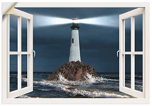 Artland Wandbild selbstklebend Vinylfolie 100x70 cm Wanddeko Wandtattoo Fensterblick Fenster Leuchtturm Meer Nacht Meerblick Maritim T5GO