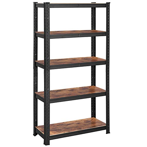 SONGMICS Standregal, Bücherregal, Lagerregal, 5 Ablagen, Küchenregal, Regal, 150 x 75 x 30 cm, bis 650 kg belastbar, verstellbare Ablagen, Industriestil, schwarz-vintagebraun GLR030B01