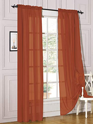 """Decotex 2 Piece Sheer Voile Light Filtering Rod Pocket Window Curtain Panel Drape Set Available in a Variety of Sizes and Colors (54"""" X 84"""", Brick)"""