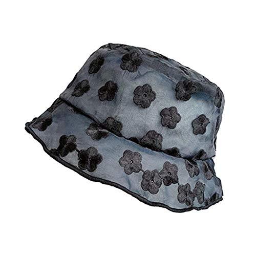 GTHTTT Sombrero del Cubo Mujer Encaje Pescador Sombrero Flores Hueco Gorro De Cubo con Estilo Plegable Estilo del Ocio Diseño Moderno Sombrero (Black 2,56-58cm)