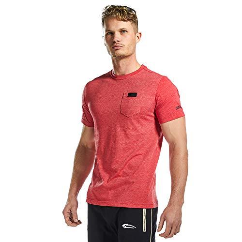 SMILODOX Herren T-Shirt Pocket | Kurzarm Funktionsshirt für Sport Fitness Gym & Training | Trainingsshirt - Laufshirt - Rundhals Sportshirt, Farbe:Rot, Größe:M