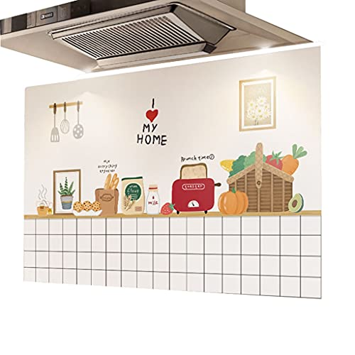 HBLZG Pegatina de Pared - Cocina Pegatina a Prueba de Aceite para cocinas decoración de Arte a Prueba de Aceite de Grasa de Escape Pegatinas (Color : E, Size : 90CM*60CM)