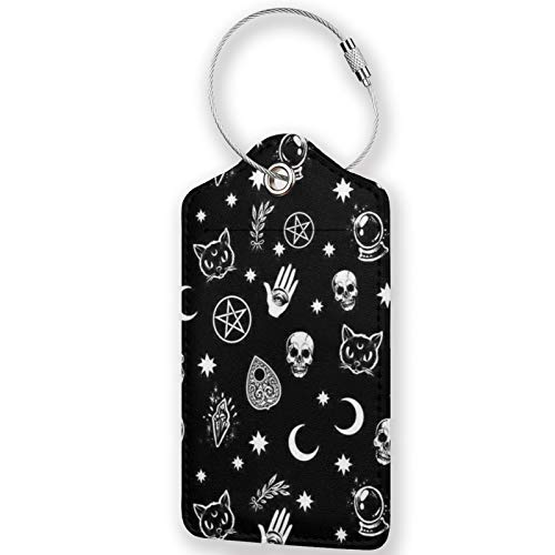 Colorful Skull Cat Moon Patter PU Leather Luggage Tags,Waterproof Name ID Labels with Stainless Steel Loop for Travel Baggage Bag Suitcase(1pcs)