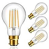 B22 Bayonet Light Bulbs, TopLeder Dimmable 6W 600LM LED Light Bulb, 2700K Warm White, 60W Halogen Bulb Equivalent, A60 No Flicker Energy Saving LED Bulb, Pack of 4
