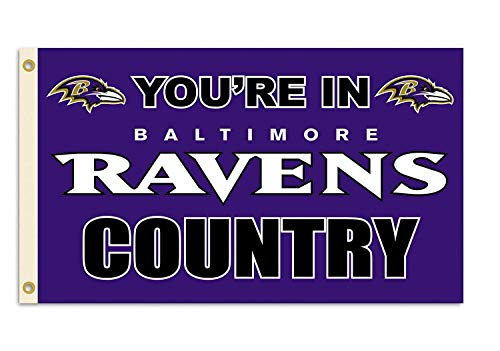"""Baltimore Ravens""""You're In Ravens Country"""" Flag Logo Flag 3x5- With Grommets"""
