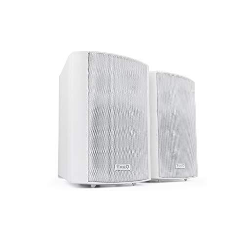 Tooq TQOWS-01W - Altavoces de Pared autoamplificados, Potencia de Salida RMS: 2x30W, frecuencia: 70HZ-16KHZ, 2xRCA, 1x Jack 3.5, reguladores de Volumen, Blanco