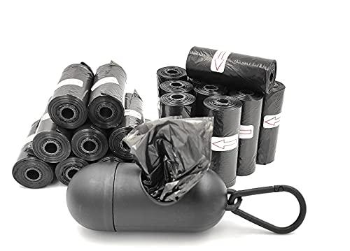 Bolsas excremento caca perro, Pack 300 unidades, para animales domésticos con dispensador y clip para correa, Extra grueso fuerte, 100% A prueba de fugas Resistente.