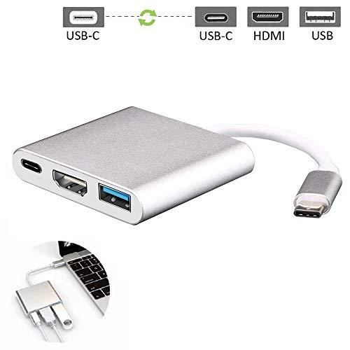 Adaptador USB C a HDMI, BTGGG 3 en 1 Hub Tipo C a 4K HDMI / USB 3.0 / USB C Adaptador multipuerto para…