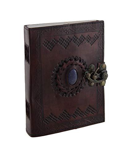 20 cm Diario de piel tamaño grande Celtic libro de sombras azul piedra en blanco, rellenable, diario personal con cierre para escritores