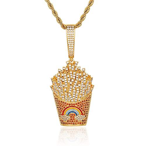 Collar con colgante de papas fritas helado completamente pavimentado Aaa + circonita cúbica Color oro plata Hip Hop regalo de joyería para hombres y mujeres