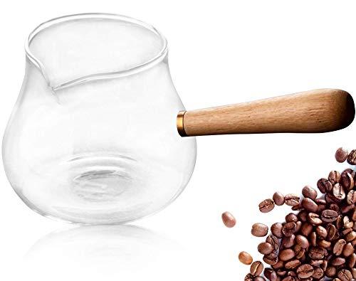 Luxus türkische, griechische Kaffeekanne aus Glas mit Bambus-Griff, Herdplatte Kaffeemaschine, Cezve, Ibrik, Briki, Milchtopf, hitzebeständiges Borosilikatglas, 425 ml, 5–6 Tassen